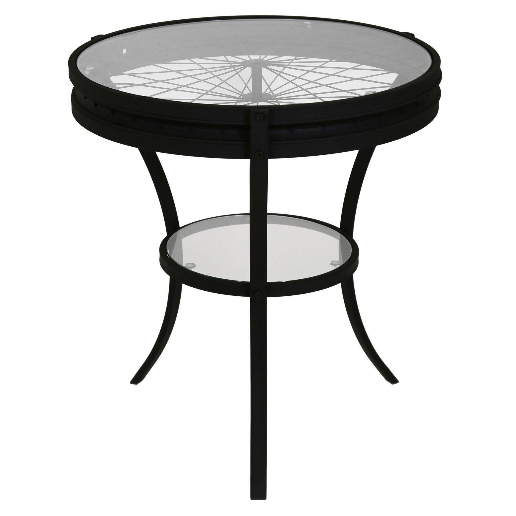 Industrial End Table Black Metal Round Top Glass Bicycle