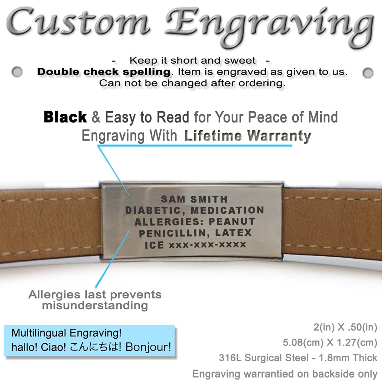 Genuine Leather Medical Alert Bracelet with Engraving My Identity Doctor