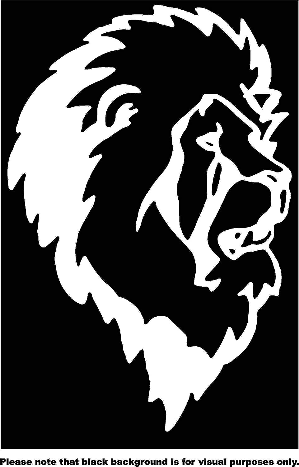 Animal Lion Face Mane Car Window Tumblers Wall Decal Sticker Vinyl Laptops Cellphones Phones Tablets Ipads Helmets Motorcycles Computer Towers V and T Gifts