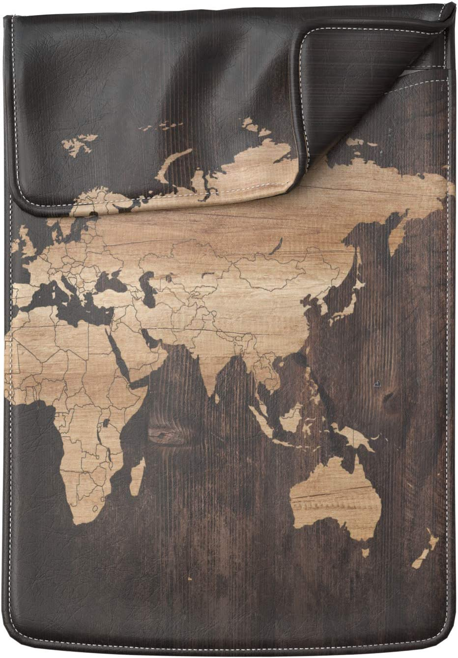Lex Altern Laptop Sleeve Case for MacBook Air 13 Mac Pro 16 15 Retina HP Dell ASUS Acer Lenovo 11 12 14 17 inch 2020 Brown Oak Dark Wood World Map Stylish Luxury Women Leather Cover Protective Slim