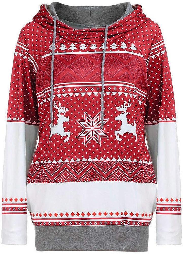 VEKDONE Womens Fall Hoodie Tops Christmas Tree Reindeer Snowflake Printed Long Sleeve Hooded Sweatshirt Pullover