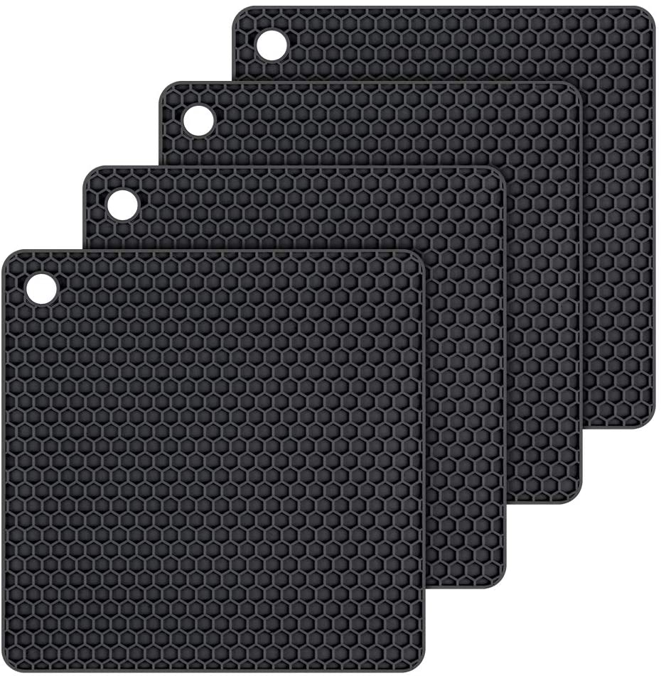 Silicone Trivet Mats Hot Potholders - Hot Pads Durable Non Slip Coasters Heat Resistant Mats (Black)