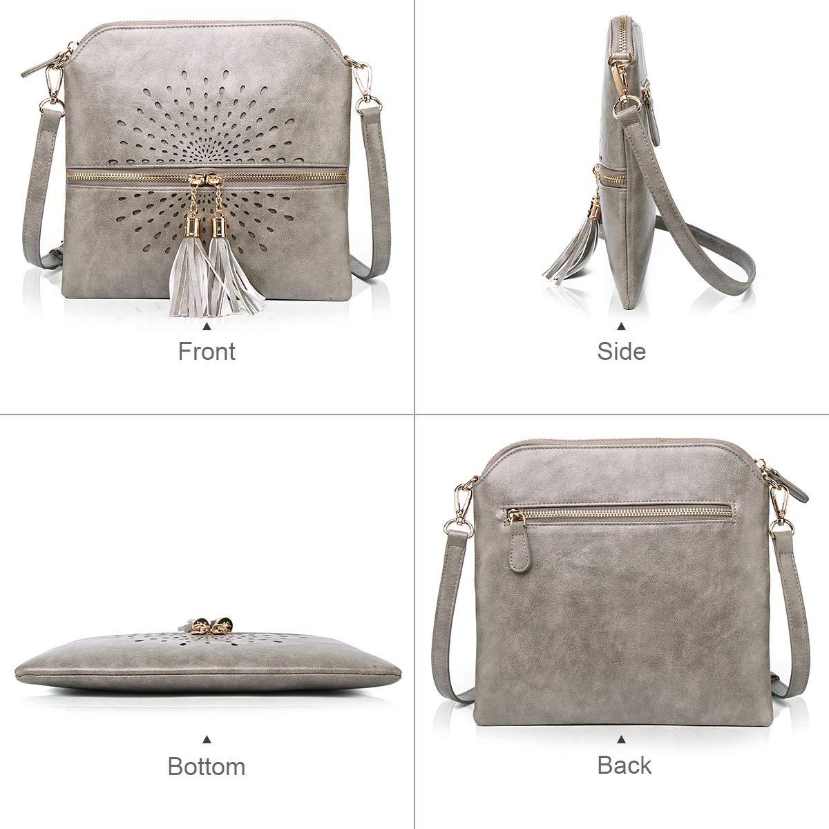 APHISON Designer kvinnor crossbody väskor tofs axelväskor för damer flera fickor vintage sol blomma platt messengerväska PU-läder 1937gray