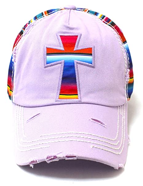 f98c47ea60857 Lavender Cross Embroidery Baseball Cap w Serape-Colored Paneling Details at  Amazon Women s Clothing store