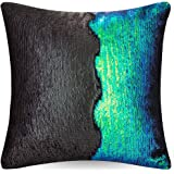 "URSKYTOUS Reversible Sequin Pillow Case Decorative Mermaid Pillow Cover Color Changing Cushion Throw Pillowcase 16"" x 16"",Fancy Green and Black"