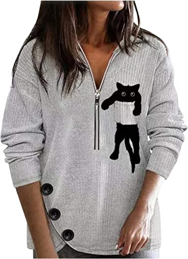 Women Black Cat Graphic Striped T Shirt Long Sleeve Round Neck Color Block Casual Tees 3D Printed Tops Cat Lover Gift