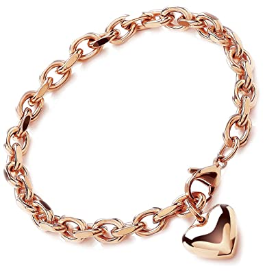 Theia Stainless Steel Rose Gold Coloured Rolo Chain Heart Charm Bracelet of 23 cm nYLSZXZK
