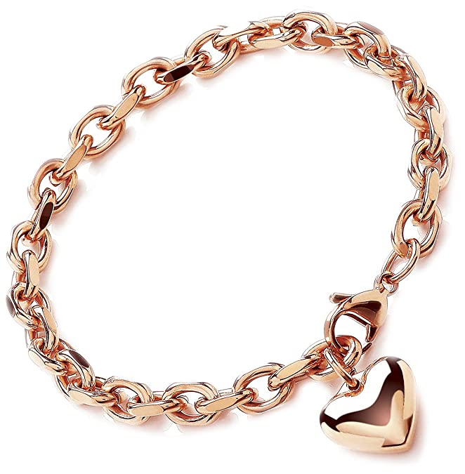 896bae0eceb3e Theia Stainless Steel Rose Gold Coloured Rolo Chain Heart Charm Bracelet of  23 cm