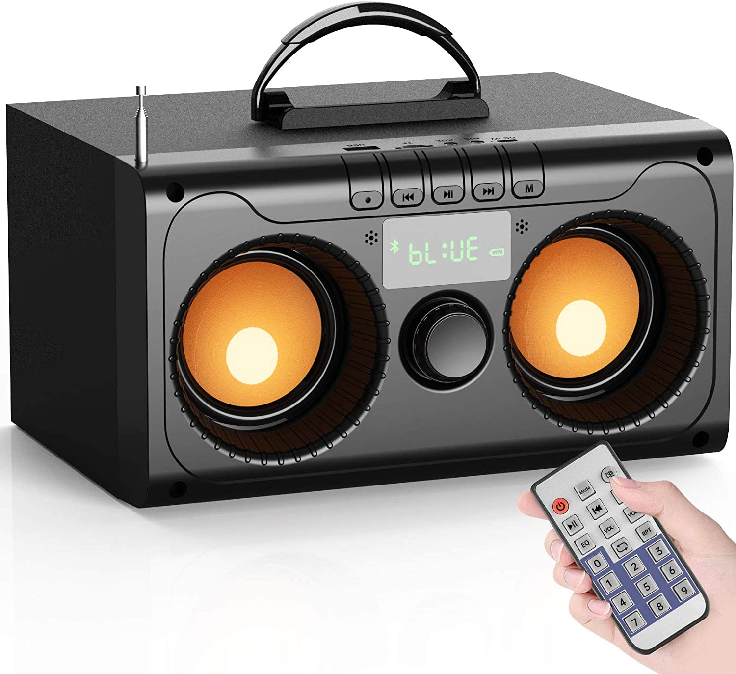Portable Bluetooth Speaker 11W Subwoofer Heavy Bass,Wireless Outdoor/Indoor/Party Speakers with Party Light,Support Remote Control FM Radio TF Card LCD Display for Home Party Phone Computer PC