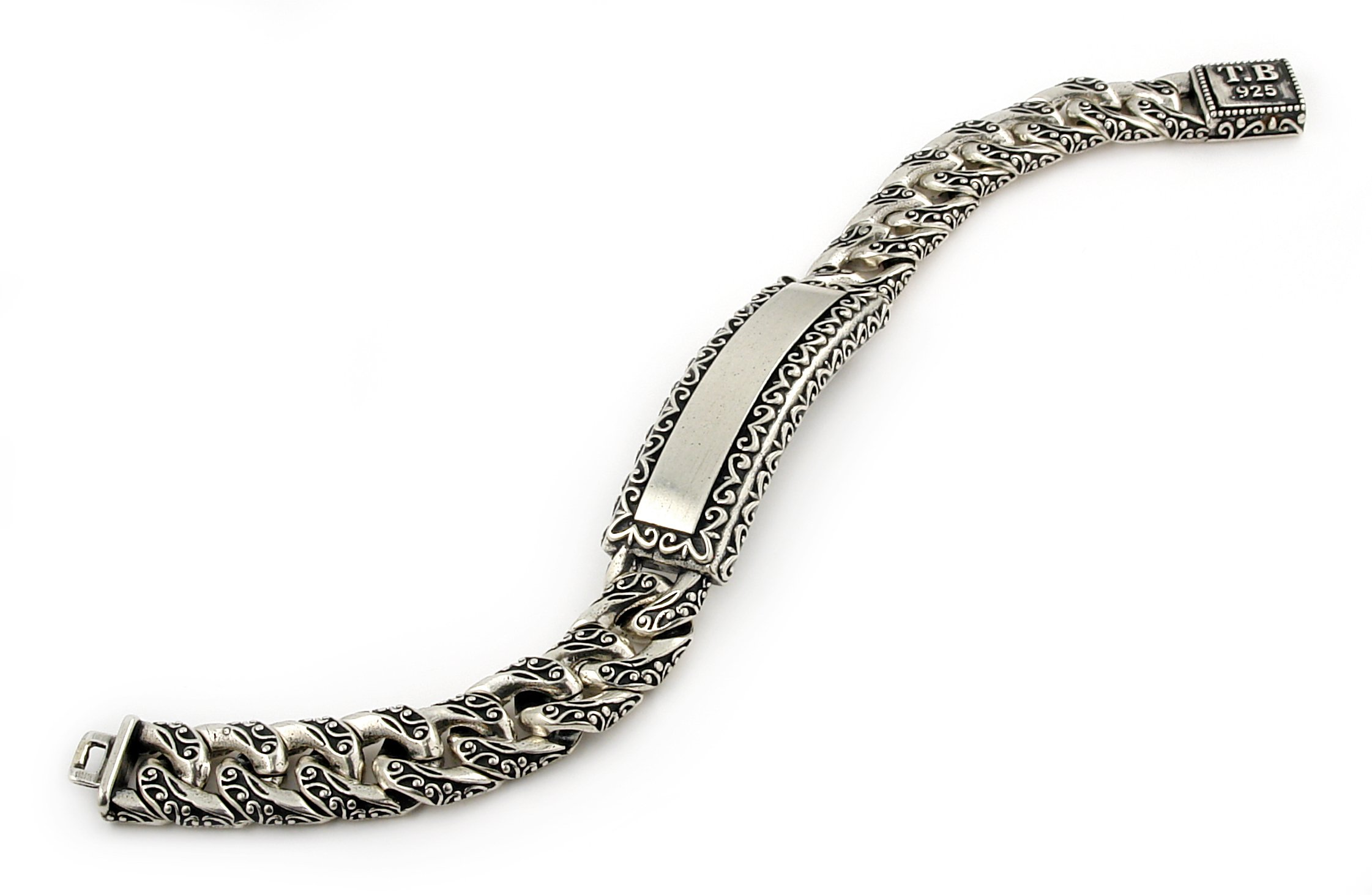 Twisted Blade 925 Sterling Silver Decorated Curb Link Id Bracelet 8''
