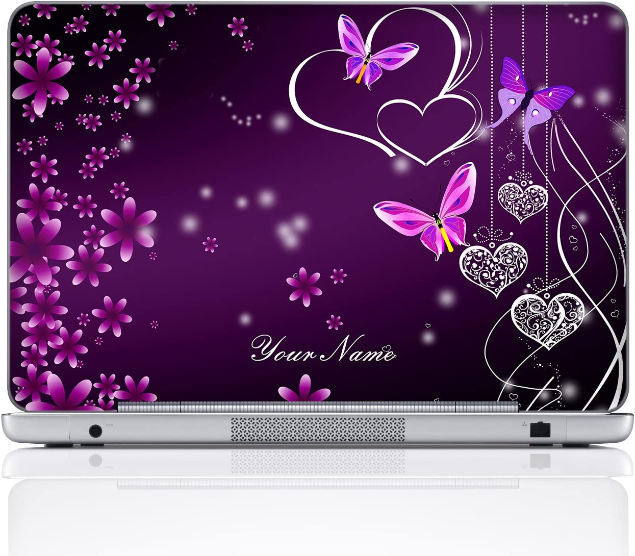 Meffort Inc Personalized Laptop Notebook Notebook Skin Sticker Cover Art Decal, Customize Your Name (15.6 Inch, Purple Hearts Butterflies)