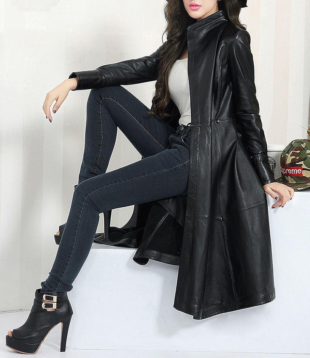 cbd308e9dd2b Mince De Veste Cuir Fourrure Mode Long En Manteau Femme tq80dRq