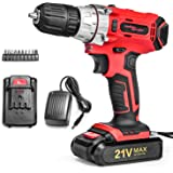 SALEM MASTER Cordless Drill Driver, 21V MAX Power Drill Set with 3/8-Inch Metal Chuck, 2-Variable Speed, 25Nm, 1.5Ah 5C Battery, 10pcs Accessories, Compact Drill for Home Improvement & DIY Project
