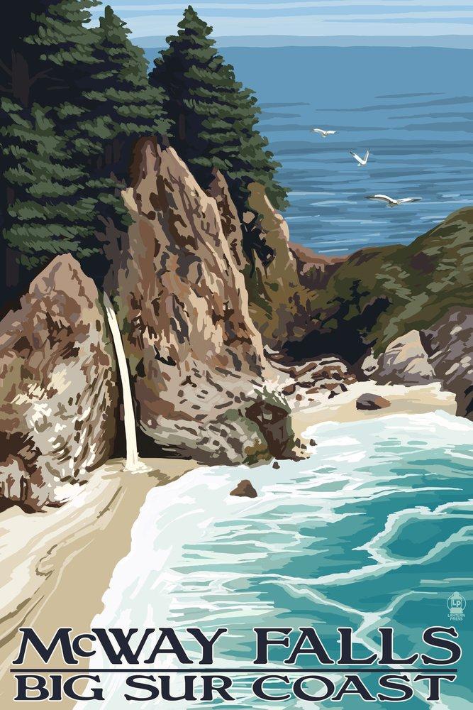 McWay Falls – Big Sur Coast、カリフォルニア 9 x 12 Art Print LANT-33174-9x12 B00N5C950Q 9 x 12 Art Print9 x 12 Art Print