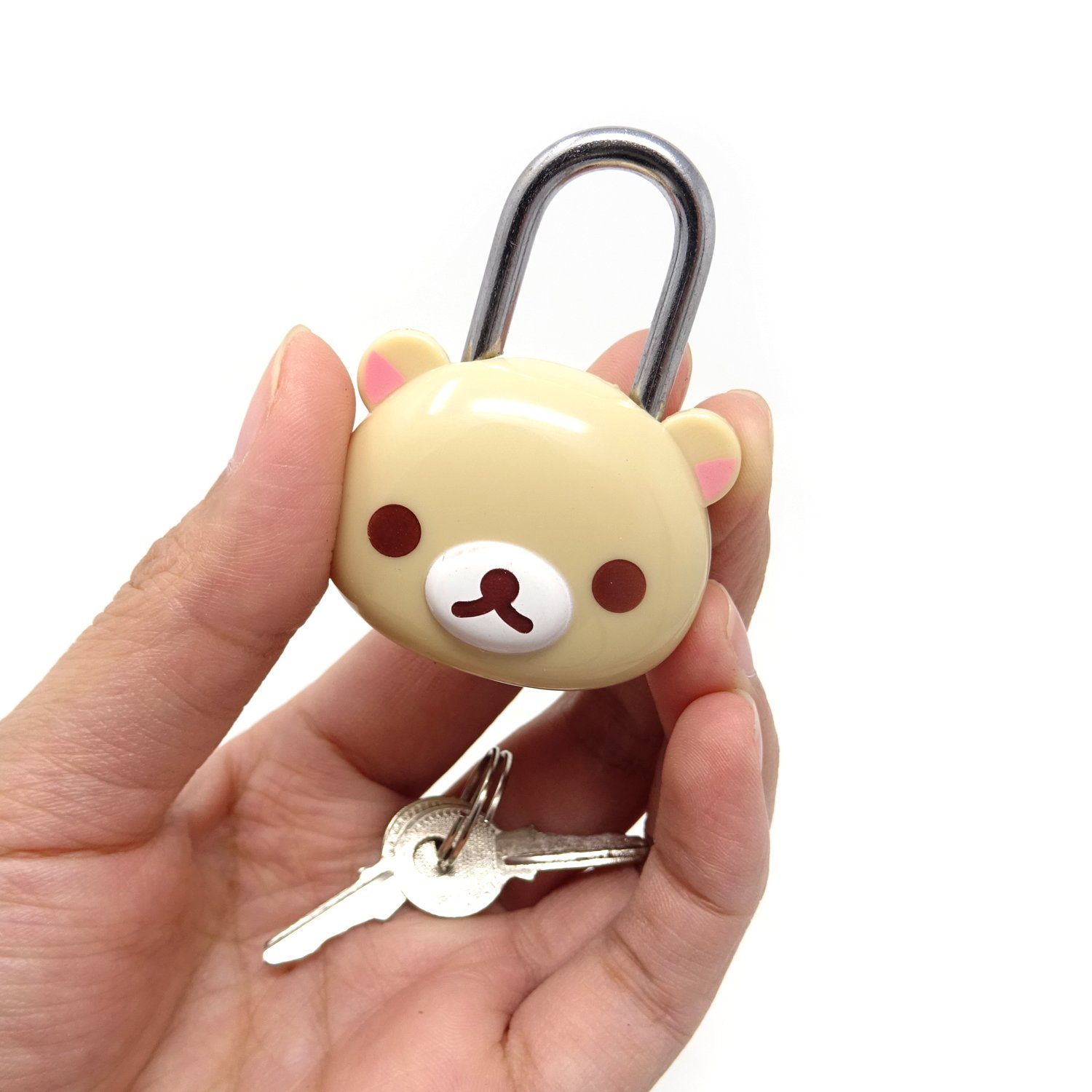 Backpacks and Lockers Honbay Cute Beige Bear Lock Padlock with Keys for Suitcases