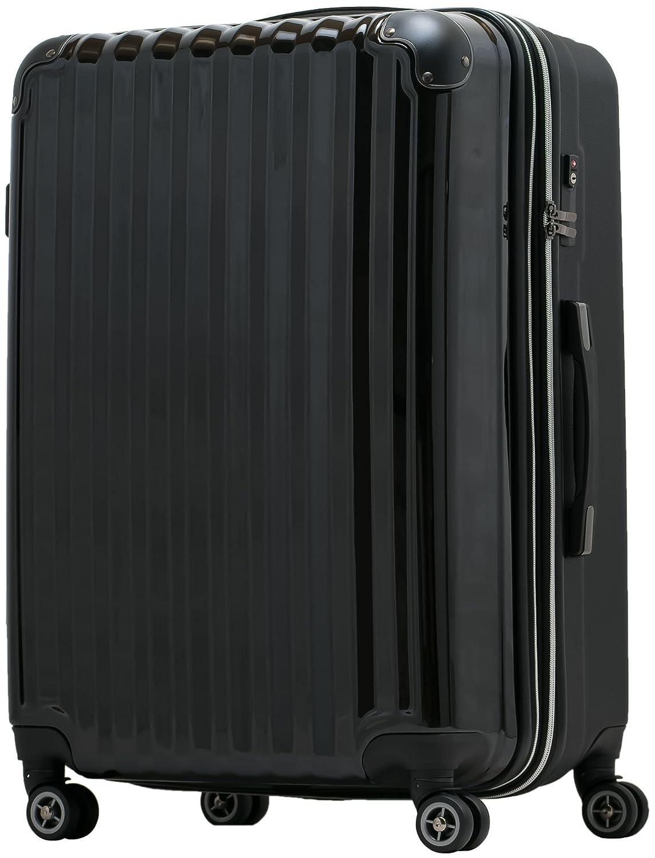【JP Design】スーツケース 超軽量 tsaロック 容量アップ拡張機能付 ダブルキャスター8輪(機内持込~LL 全4サイズ)ハードキャリー ファスナータイプ キャリーバッグ キャリーケース B01719SX88 LL ブラック/BK ブラック/BK LL