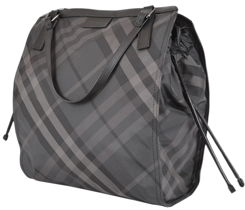 b33547aa48f7 Burberry Women s Charcoal Nylon Nova Check Packable Purse  Handbags  Amazon. com