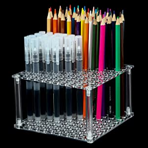96 Hole Pencil Brush Holder Acrylic Pen Holder Desk Stand Organizer for Pencils Paint Brushes Markers Display and Home Storage (4 Pieces)
