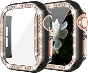 Goton Bling Case with Tempered Glass Screen Protector Compatible with Apple Watch 40mm Series 6 5 4 SE, Diamond Rhinestone Full Protective Cover for iWatch Series 6/5/4/SE 40mm Girl Women - Black/RG