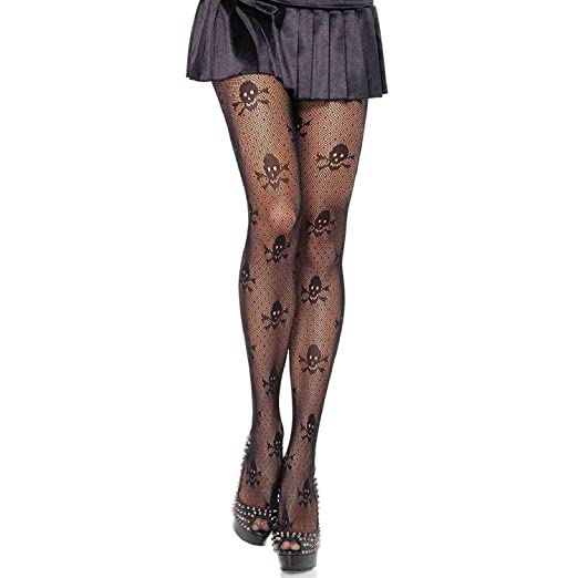 d88749747152f Amazon.com: Leg Avenue Womens Skull Print Micronet Tights: Adult Exotic  Hosiery: Clothing