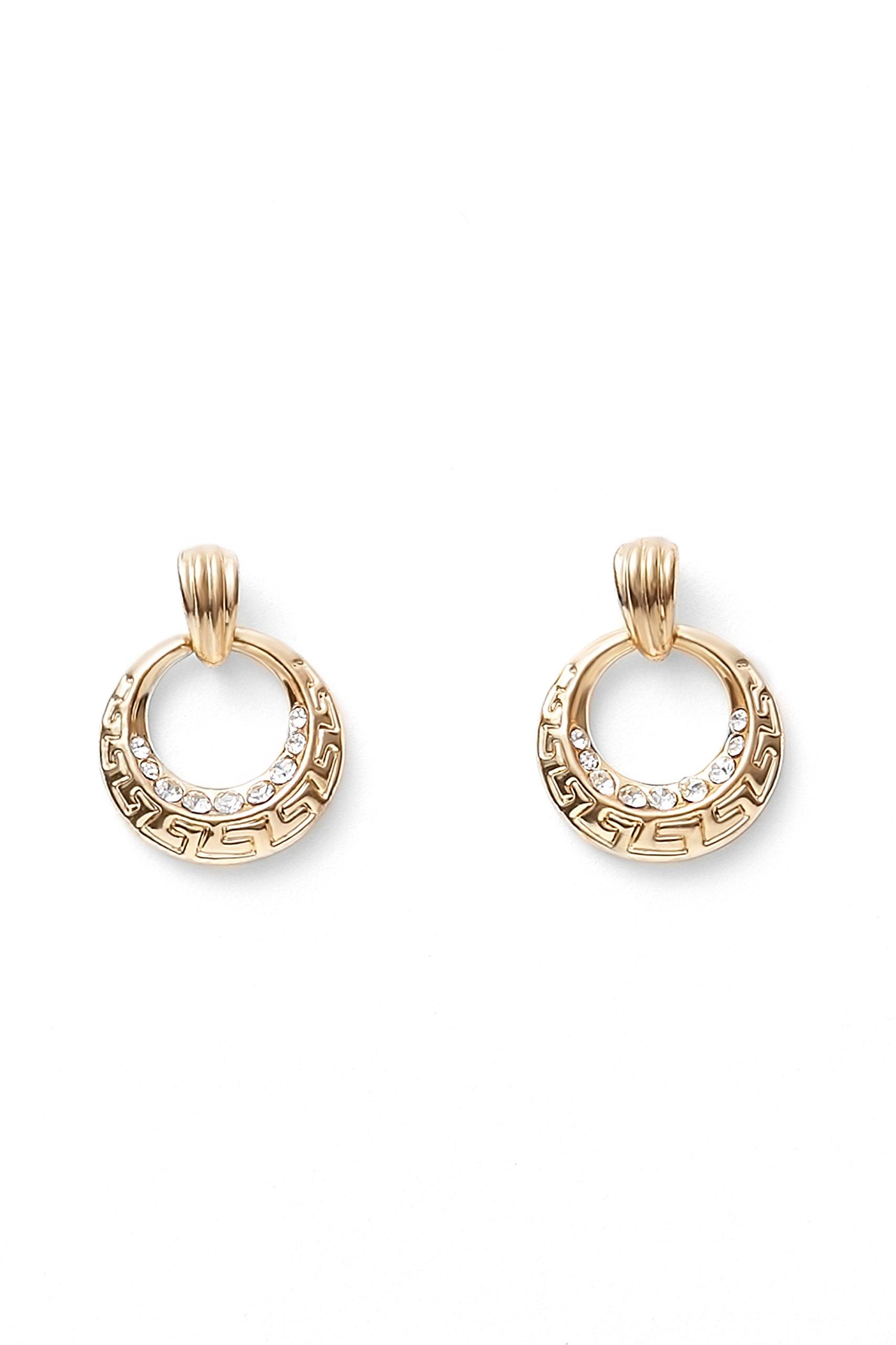 Open Circle Drop Earrings Posts Greek Key Hoops Dangle Earring Set Dangling Studs (gold, open circle)
