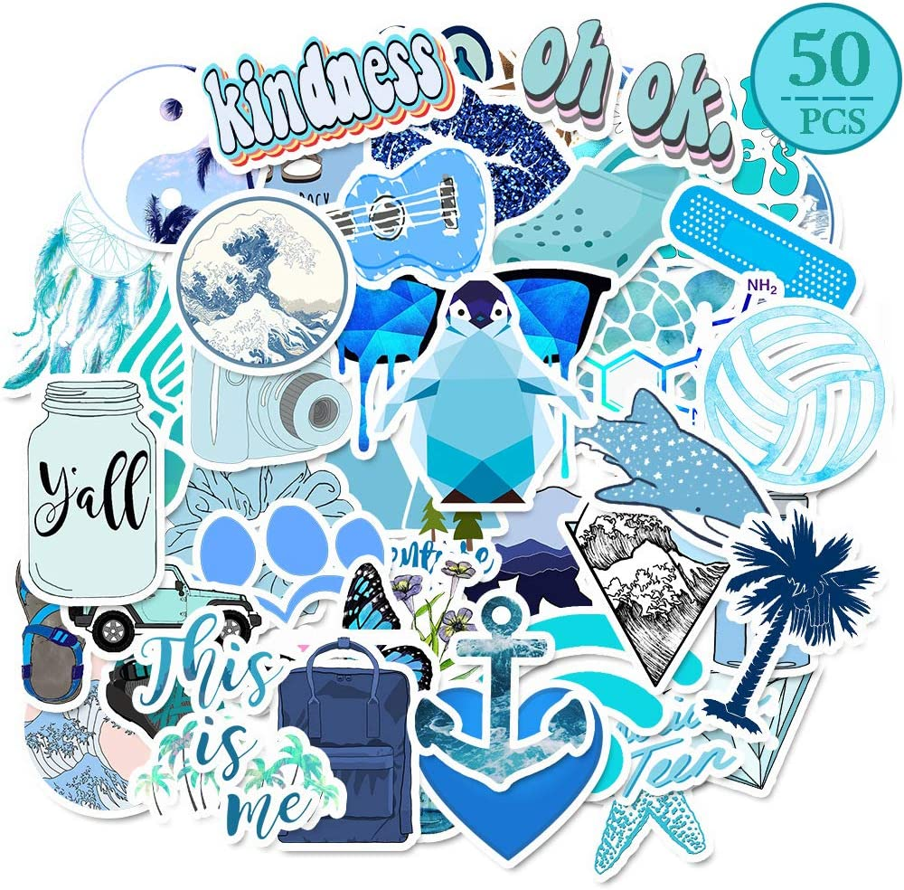 MSOLE 50PCS Cute Waterproof Stickers for Water Bottles Laptop HydroFlasks Aesthetic Decals for Mac Computer Phone Guitar for Kids Teens Girls