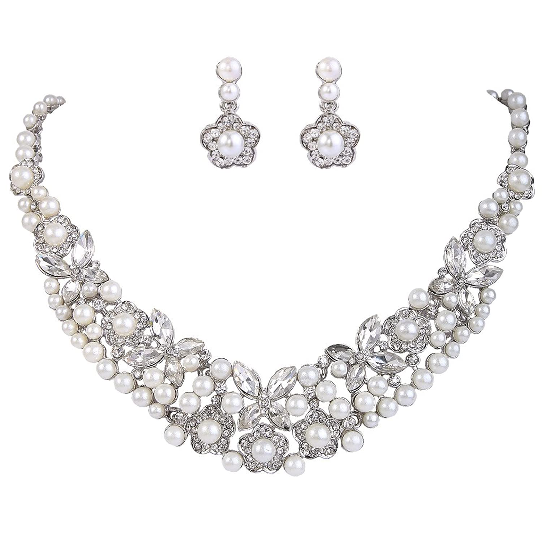 EVER FAITH Bridal Jewelry Set Ivory Color Simulated Pearl Leaf Clear Austrian Crystal