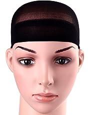 12 Pack Dreamlover Black Nylon Wig Caps, Stretchy Close End Stocking Wig Caps, Black
