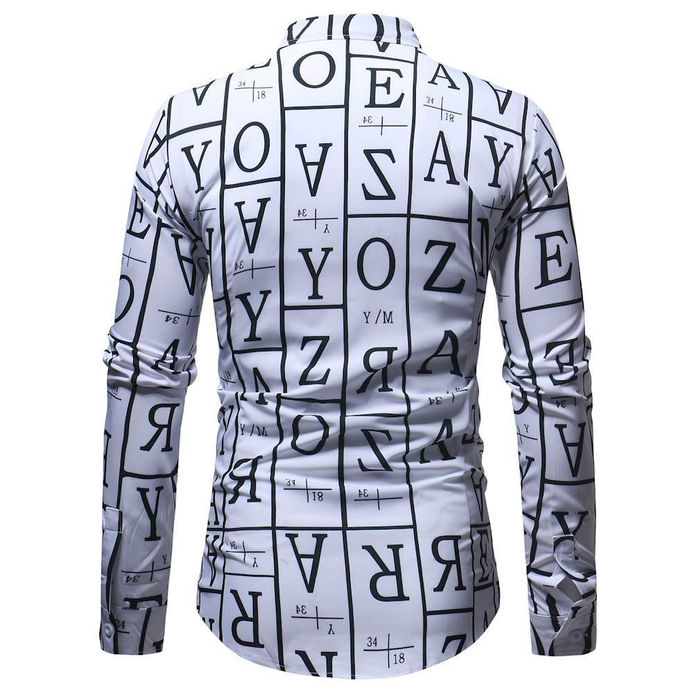 af8fa1cce Carta de Moda para Hombre Blusa Estampada Casual Manga Larga Camisas  Delgadas Tops  Amazon.