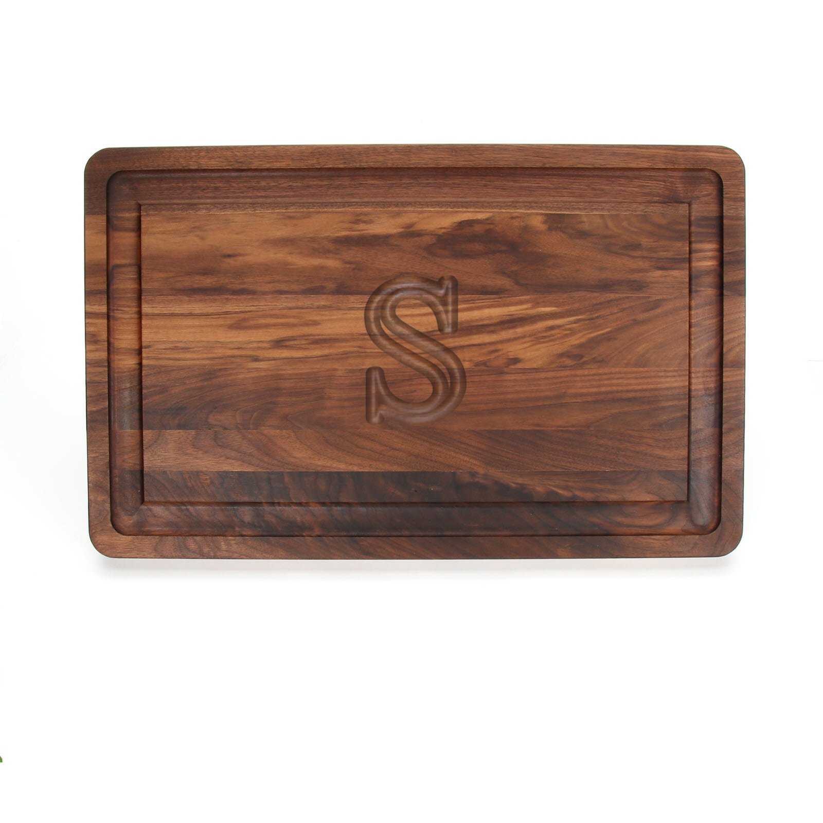 BigWood Boards W220-S Thick Carving Board, 15-Inch by 24-Inch by 1.25-Inch, Monogrammed ''S'', Walnut by BigWood Boards