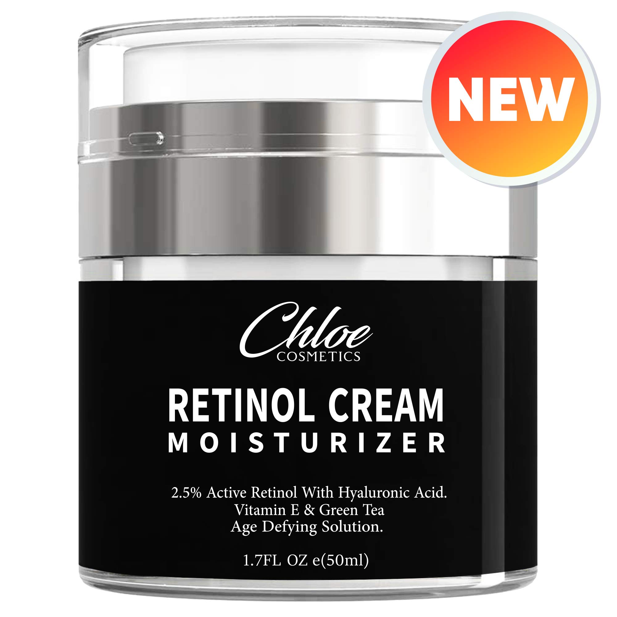 Retinol Moisturizer for Face and Eye area | Anti Aging Cream with Hyaluronic Acid, 2.5% Active Retinol and Vitamin E | Reduces Appearance of Wrinkles and Fine lines | Best Day and Night Face Cream by Chloe Cosmetics