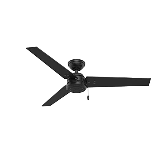 Hunter Indoor Outdoor Ceiling Fan, with pull chain control – Cassius 52 inch, Black, 59264