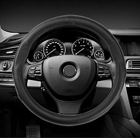 Gomass Car Steering Wheel Cover, Four Dimensional Power Steering, Universal  Size 15 inch, Microfiber Leather, Anti-Slip, Easy Grip, Wheel Wrap (