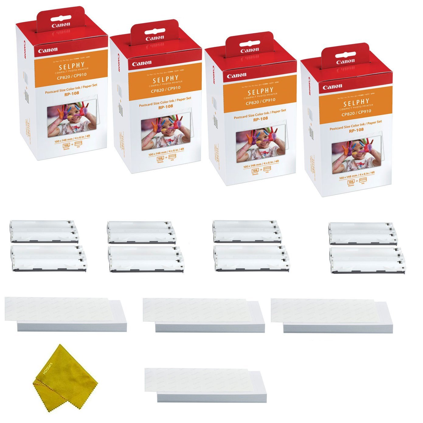 Canon RP-108 4 High Capacity Color Ink Cassette and 432 Sheets 4 x 6 Paper Glossy For SELPHY CP1300, CP1200, CP910, CP820 Wireless Compact Photo Printer (4-Pack)