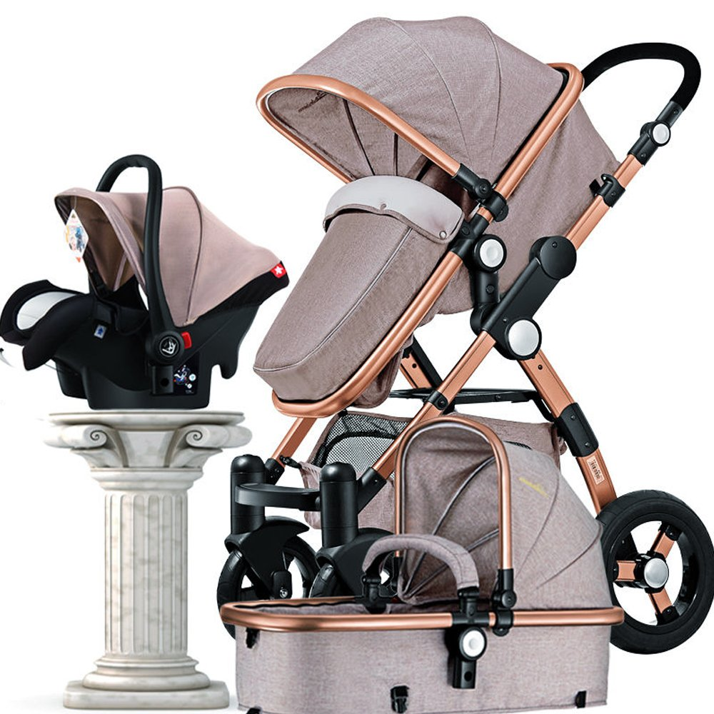 Baby Stroller 3 in 1 High Landscape Baby Carriages, Baby Pushchair with Bassinet for Newborn Baby and Toddler 3 in 1 Travel System by Ujuuu (Image #1)