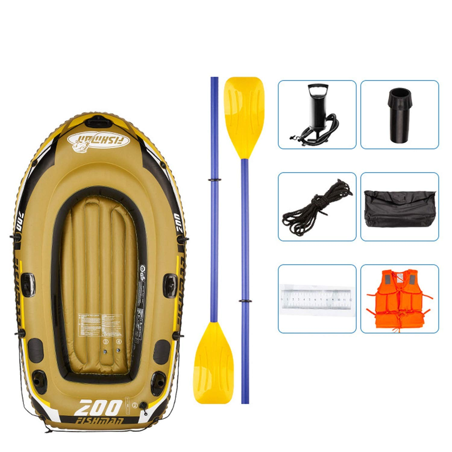 Inflatable Rubber Boat, River Fishing Boat for 2 People, with 2 Aluminium Oars and Foot Pump, Max Load 300 kg