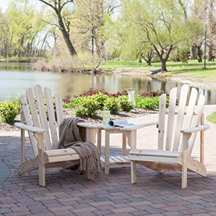 Coral Coast Hubbard Adirondack Chair Set With FREE Side Table   Natural
