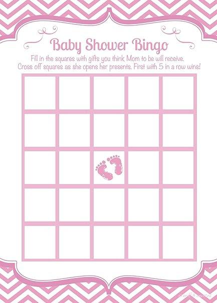 Amazon Pink Feet Girl Baby Shower Bingo Game Cards 50 Count