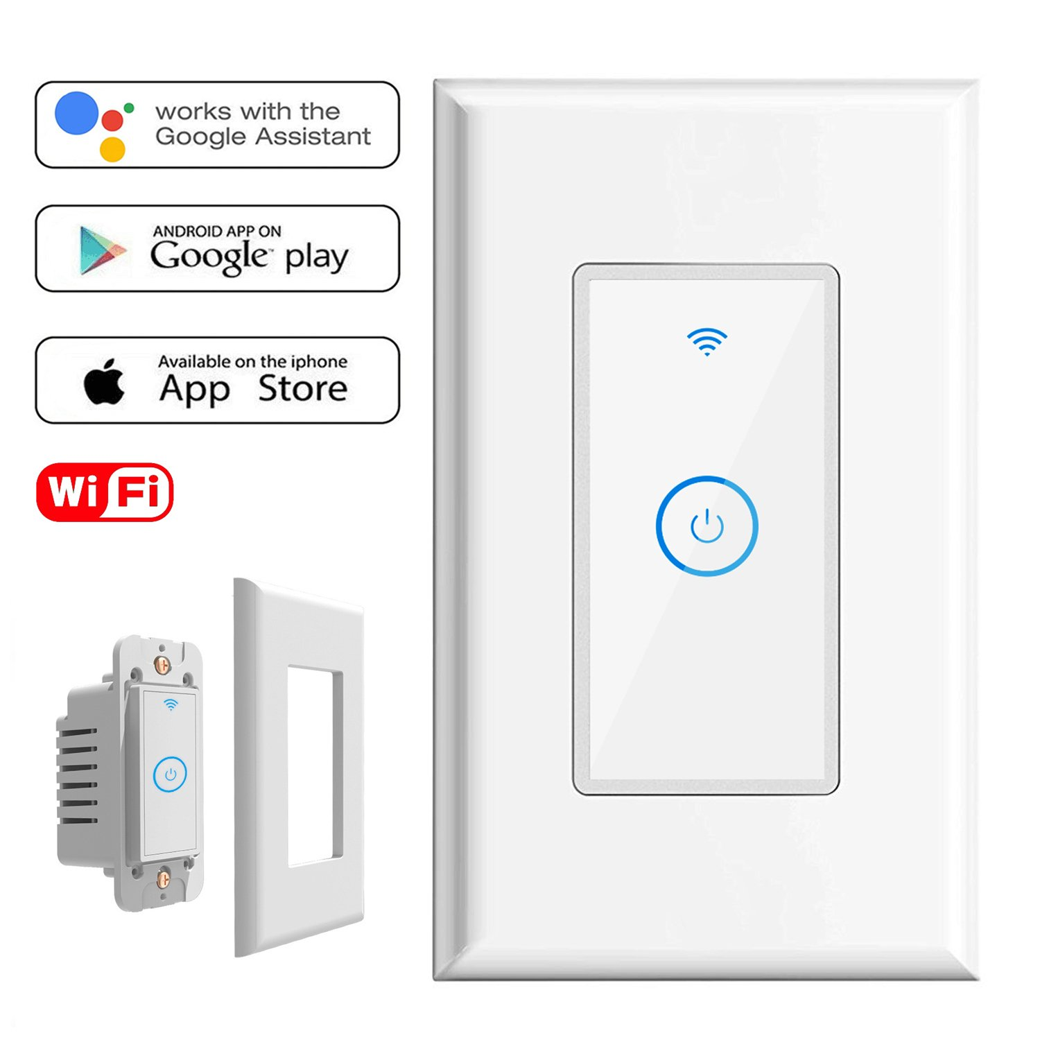 Smart Light Switch,Wi-Fi Switch In-wall Wireless Switch Compatible With Amazon Alexa,Remote Control Your Fixtures From Anywhere,Timing Function,Overload Protection,No Hub Required