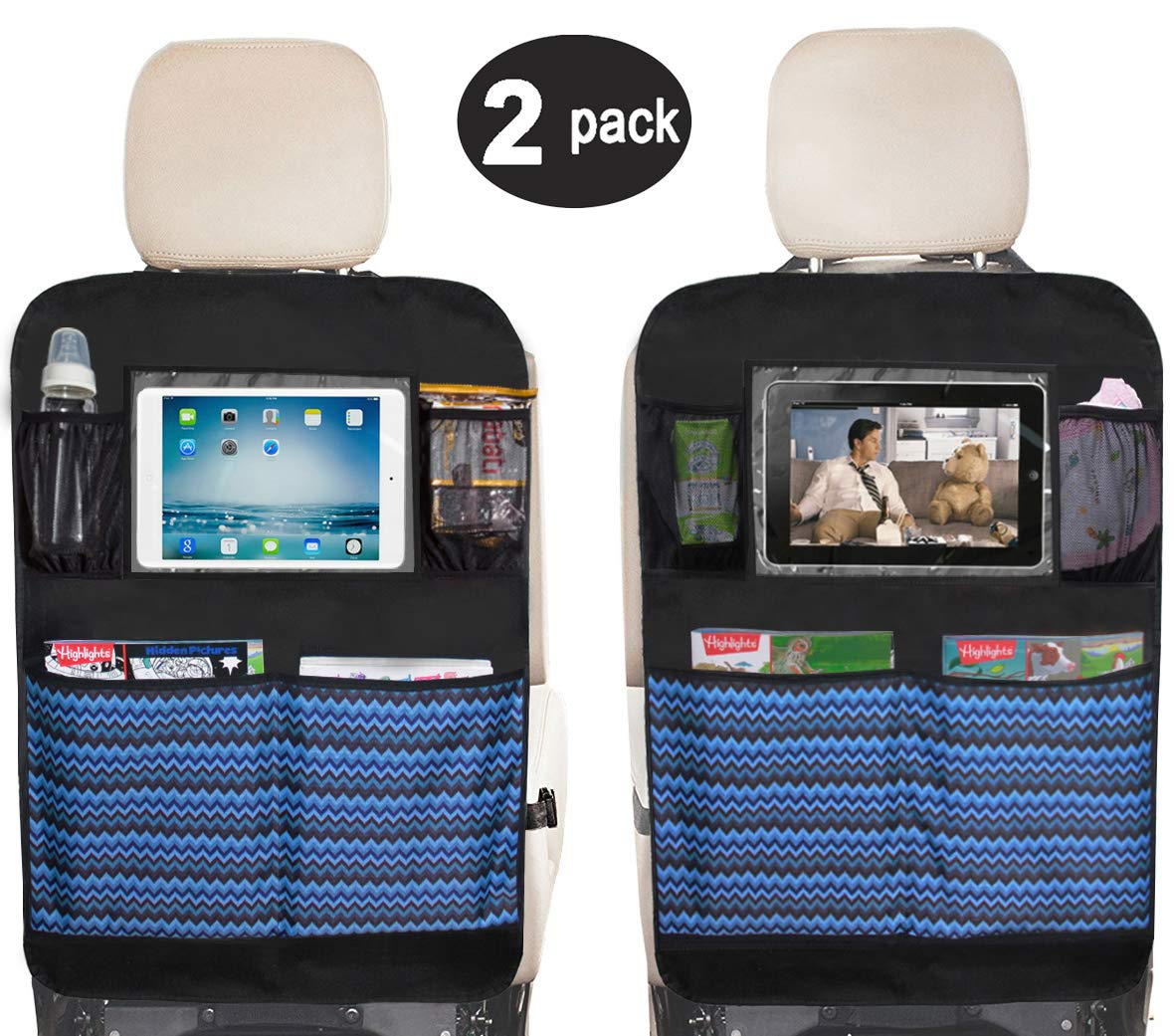 Sleeping Lamb Waterproof Kick Mats Car Seat Back Protectors with Clear 10'' Ipad Holder + 4 Storage Pockets Backseat Organizer (2 Pack)