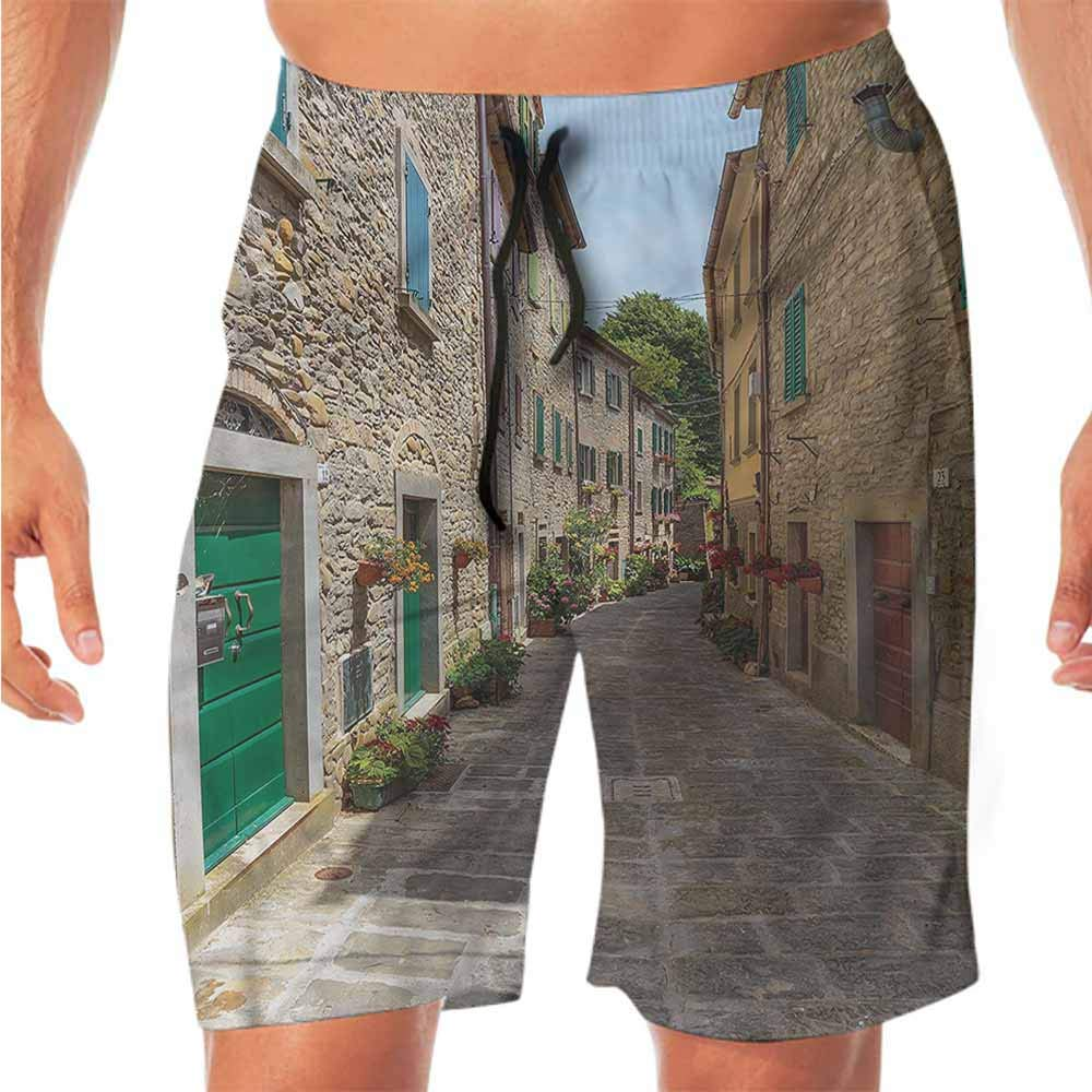 ScottDecor Quick-Dry Beach Mens Shorts Casual Wanderlust,Old Street with Flowers Shorts for Teen