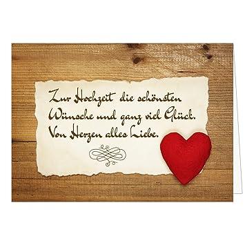 Grosse Gluckwunschkarte Zur Hochzeit Xxl A4 Rotes Herz Holz