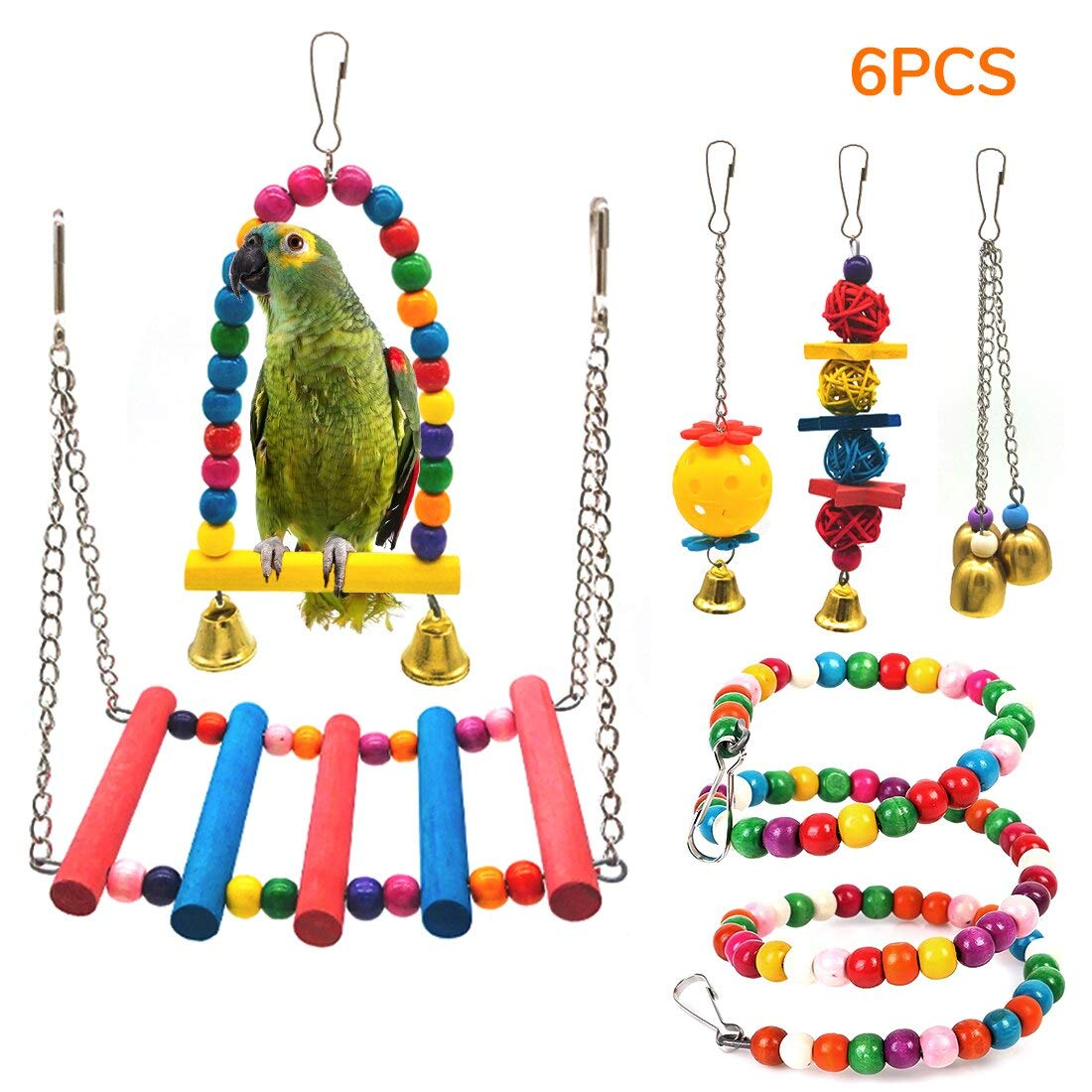 STARROAD-TIM Bird Toys Bird Parrot Swing Toy Pet Bird Cage Hammock Swing Toy Hanging Bell Beaks Toy for Small Budgie 6 pcs by STARROAD-TIM