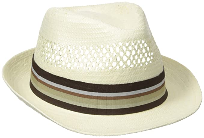 d74524f21 Henschel Men's Vented Toyo Straw Fedora with Striped Ribbon Band