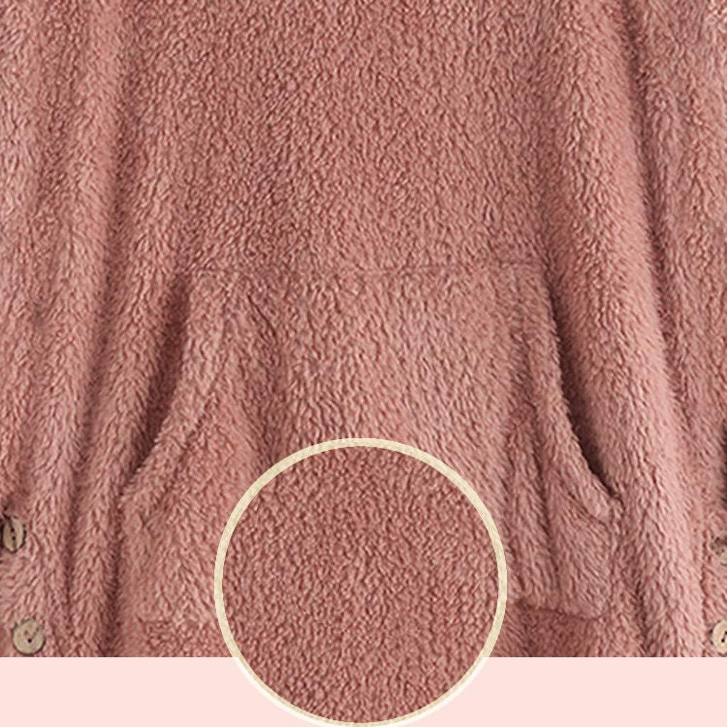 Gofodn Women Pullover Hoodie Sweatshirt Jumper Ladies Tops Winter Warm Plus Size Fleece Cat Print Loose Hooded Long Sleeve Outwear