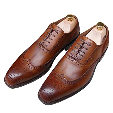 6ff54efab2a80 Amazon.com   Men Custom Made Italy Goodyear Handmade Shoes Brown Genuine Leather  Brogue Oxfords Big Size 37-50   Oxfords