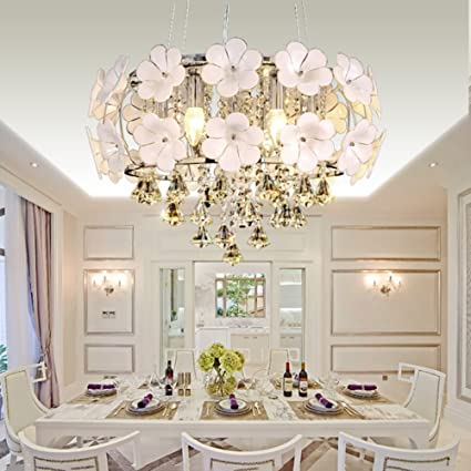 5 Lights Contemporary Creative European Chrome Round Crystal Chandelier LedRaindrop Pendant Lamp Hanging