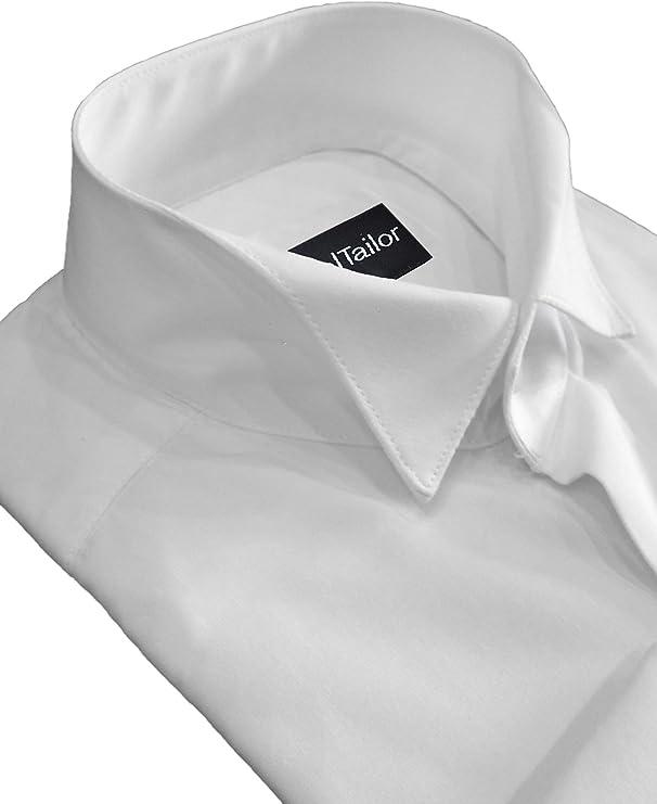 Hombre Corte Slim Blanco Cuello de Pajarita Vestido Formal Camisa De Boda - Blanco, 45.7 cm