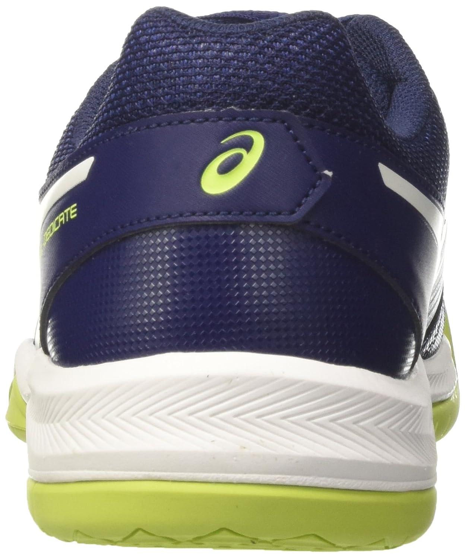 ASICS Herren Gel-Dedicate 5 Tennisschuhe, weiß, 50.5 EU Mehrfarbig (Indigo Blue/White/Safety Yellow)