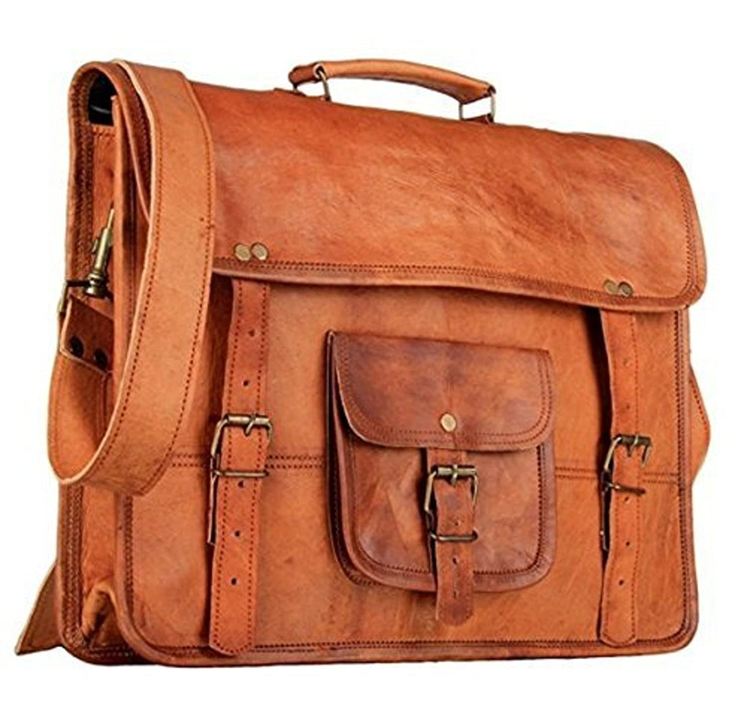 Tuzech Genuine Leather Laptop Vintage Messenger Bag Handmade Unisex Fits Laptop Upto 13 inches THE IMMART GLOBAL